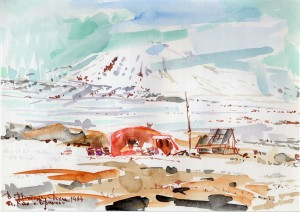 Beregovoy Peak in Wrangel Island, watercolor
