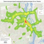 Active bikezones in Kiev, density of the bikeroutes